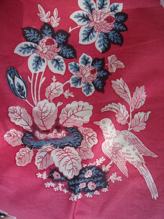 Bird on strawberry toile