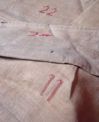 Embroidered numbers on linen