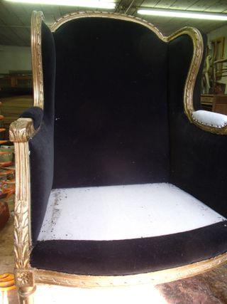Pair of Louis XVI gilded armchairs with black velvet