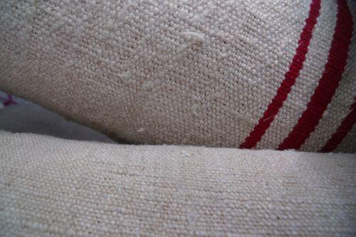 Red stripe old linen