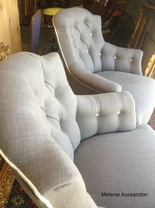 French antique armchairs in frey