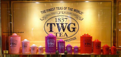 Colorful twinning tea cans in Siam Paragon