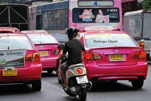Pink taxis in Bangkok