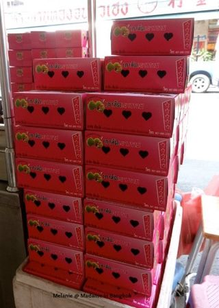 Pink boxes in Chinatown Bangkok