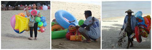 Vendeurs sur la plage de koh chang Collage