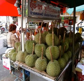 Durian seller in the street of Chinatown