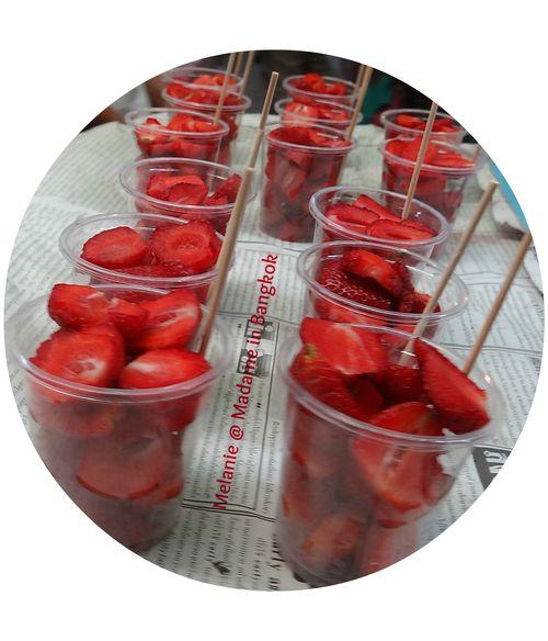Strawberries  salad in the street of Bangkok round