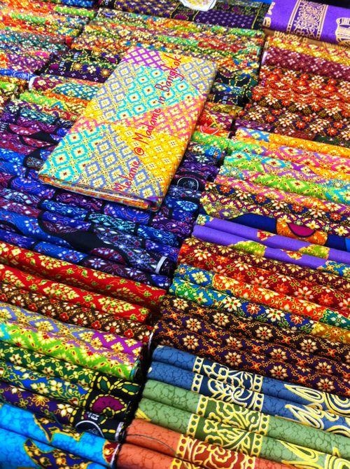 Colorful thai sarongs in Chatuchak