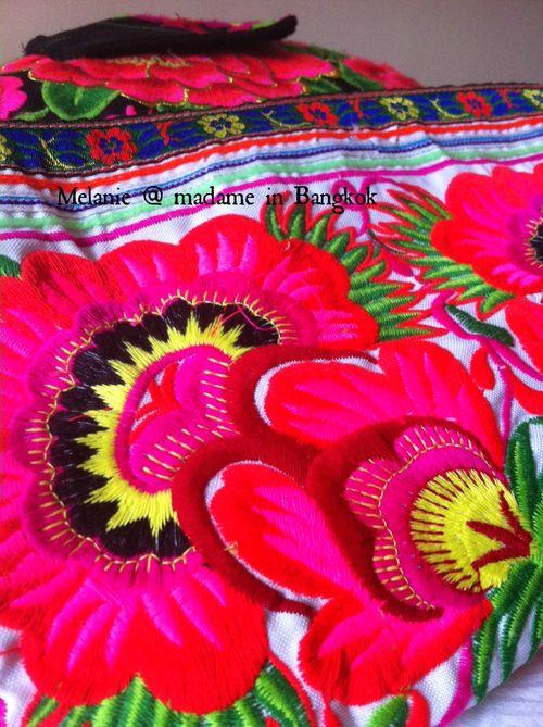Pink hmong embroidery . Madame in Bangkok