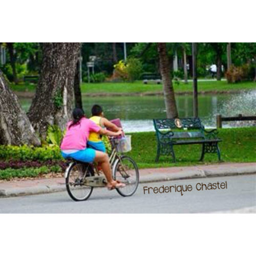 Biking in Lumpini park on a sunday