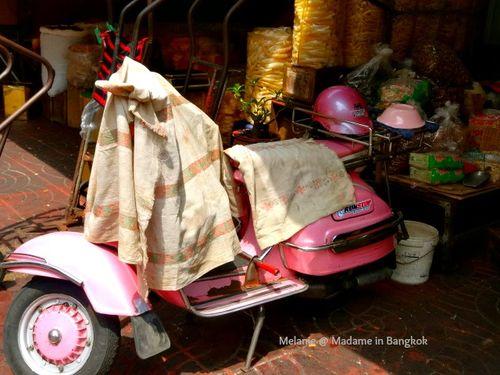 Pink vespa in Chinatown Bangkok