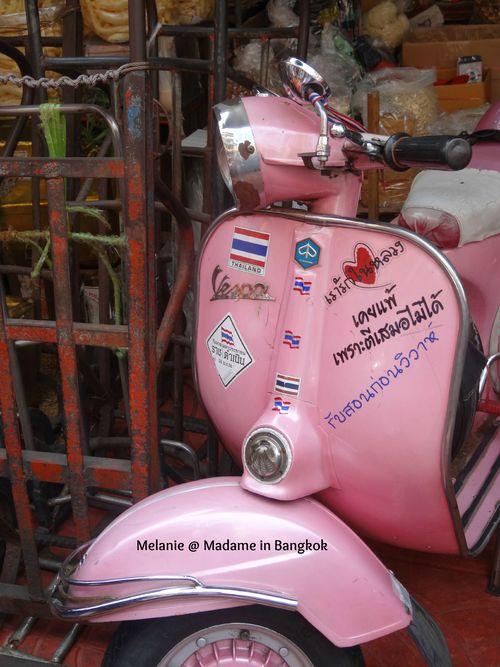 Pink thai vespa in Chinatown , bangkok
