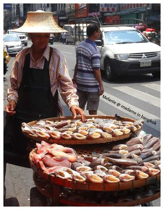 Fish seller in the street of bangkok
