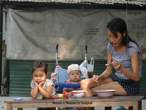 Mother and children in Chinatown
