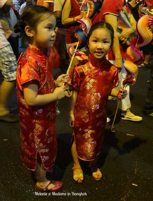 Girls in red in Chinatown