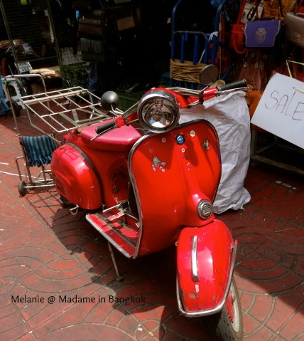 Red vespa in Chinatown