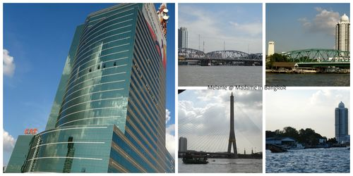 Chao Phraya river towers and bridges Collage