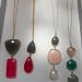 long necklace with semi precious stones bezel