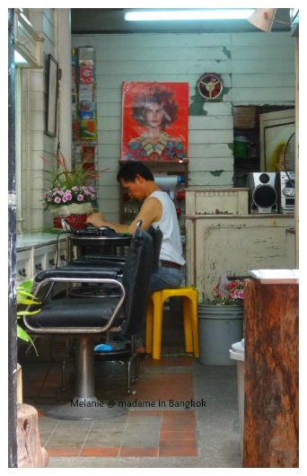 Streets of bangkok hairdresser on silom
