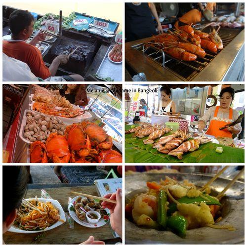 Amphawa floating market seafood Collage