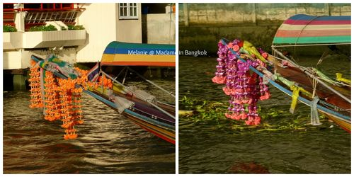 Chao Phraya river long tail boat Collage
