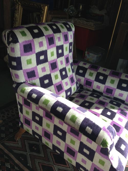 Antique armchair with Nobilis fabric