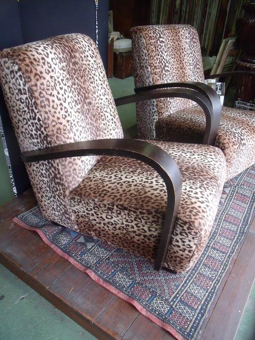 animal prints art deco armchairs